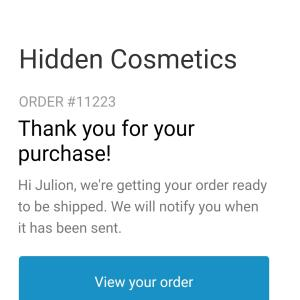 Hidden Cosmetics 1 star review on 16th April 2020