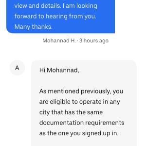 Uber Support 1 star review on 11th August 2020