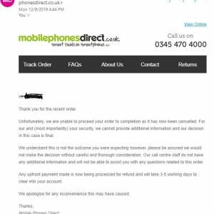 Mobile Phones Direct 1 star review on 9th December 2019