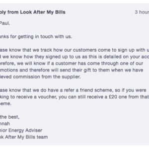 Look after My Bills 1 star review on 28th August 2020