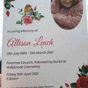 Devine Funeral Stationery 5 star review on 17th May 2021