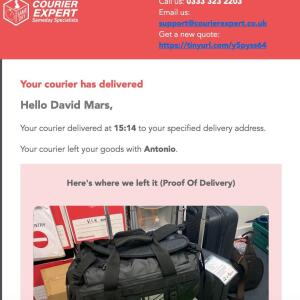 Courier Expert - Delivery 5 star review on 11th July 2021