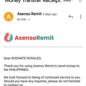 Asenso Remit 5 star review on 7th January 2021