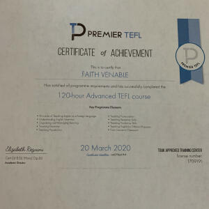 Premier TEFL  5 star review on 6th August 2020