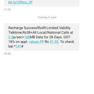 Vodafone 1 star review on 13th June 2020