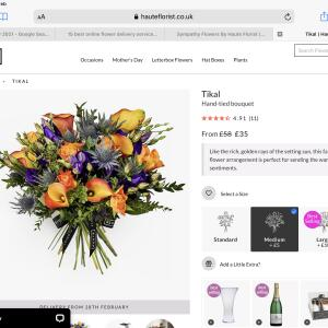 Haute Florist 5 star review on 1st March 2021
