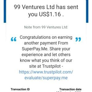 SuperPay.me 5 star review on 18th September 2021