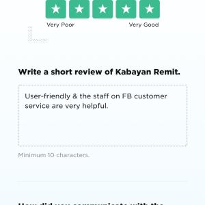 Kabayan Remit 5 star review on 19th May 2021