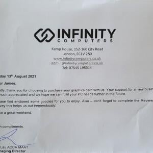 Infinity Computers Limited 5 star review on 14th August 2021