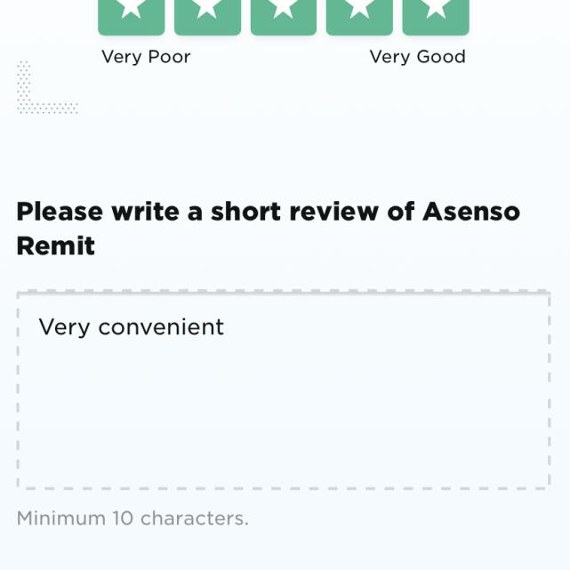 Asenso Remit 5 star review on 22nd June 2021