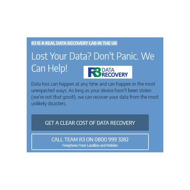 R3 Data Recovery  5 star review on 11th September 2016