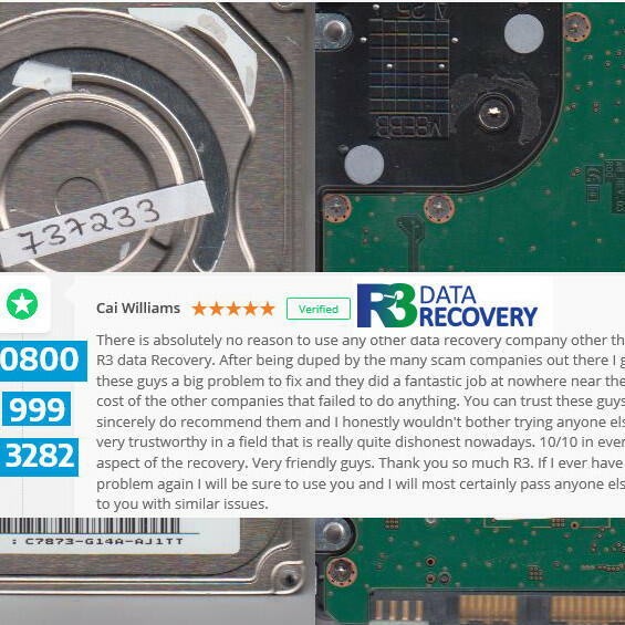R3 Data Recovery  5 star review on 6th February 2018