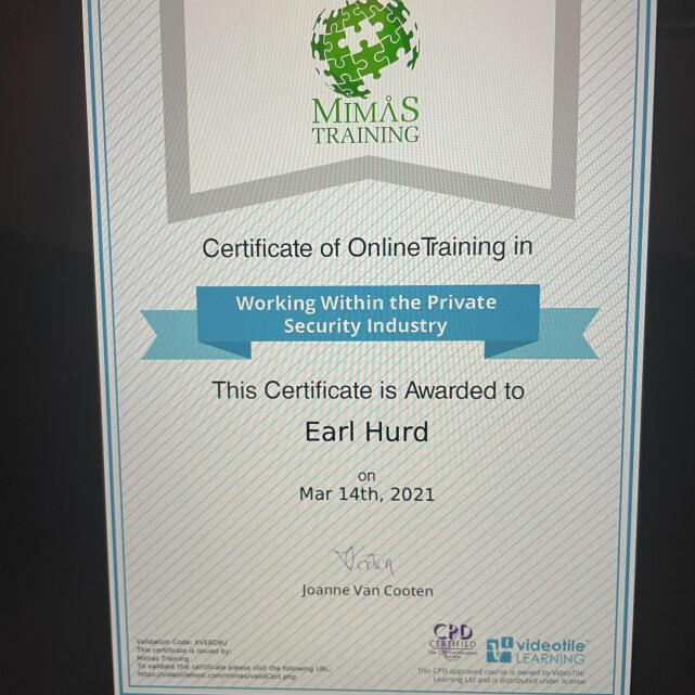 Mimas Training  5 star review on 19th March 2021