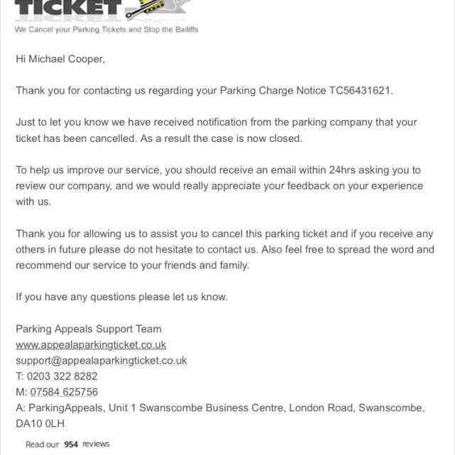 Parking Appeals 5 star review on 14th February 2020