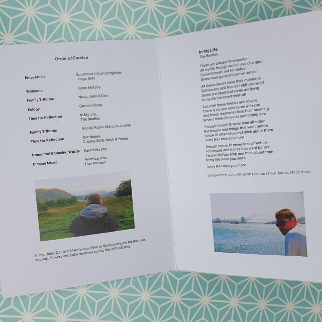 Devine Funeral Stationery 5 star review on 6th July 2021