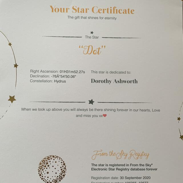 From the Sky Registry - Name a Star Gifts 5 star review on 14th October 2020